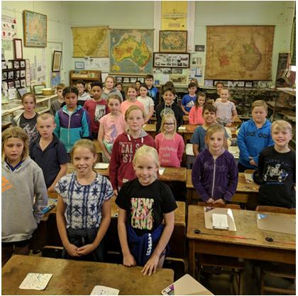 Children visiting Silverton School Museum