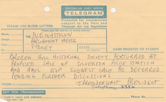 TELEGRAM from Mr J Prendergast